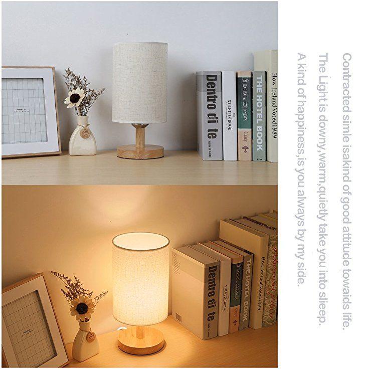 Holz Tischlampe ThreeCat Nachttischlampe mit E27 Glühbirne
