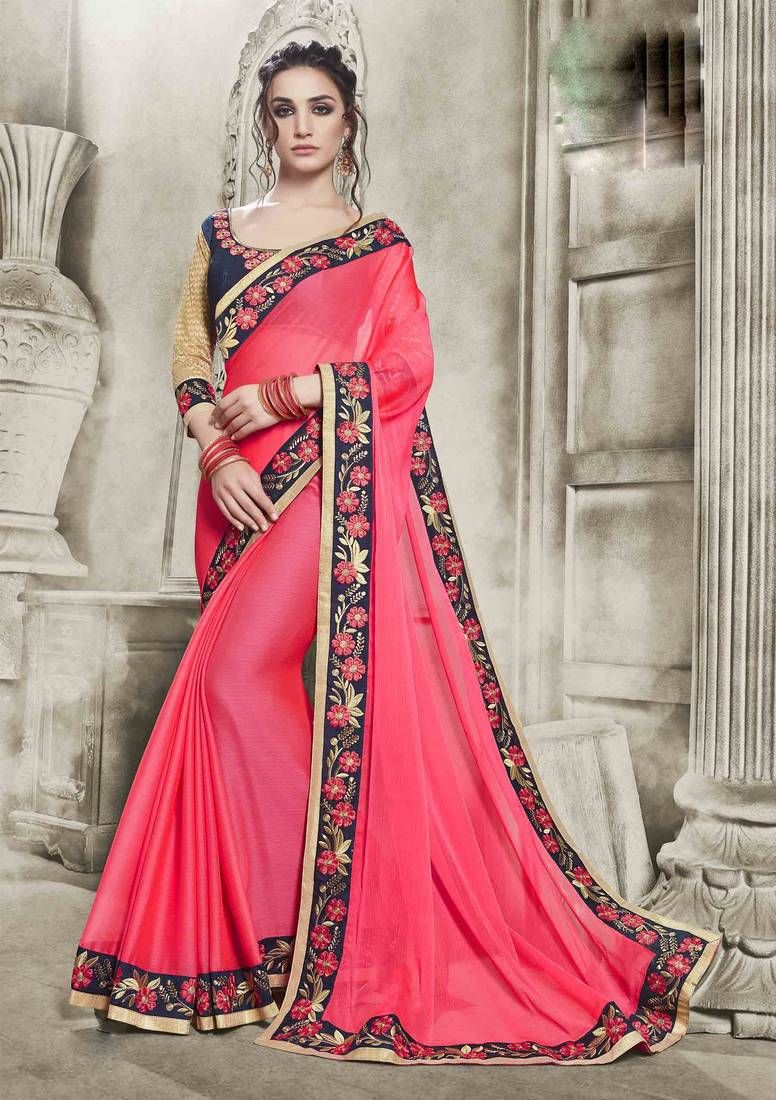 af3a6de6651c9 Shop latest Pink Color Embroidered Chiffon Saree With Blouse Online