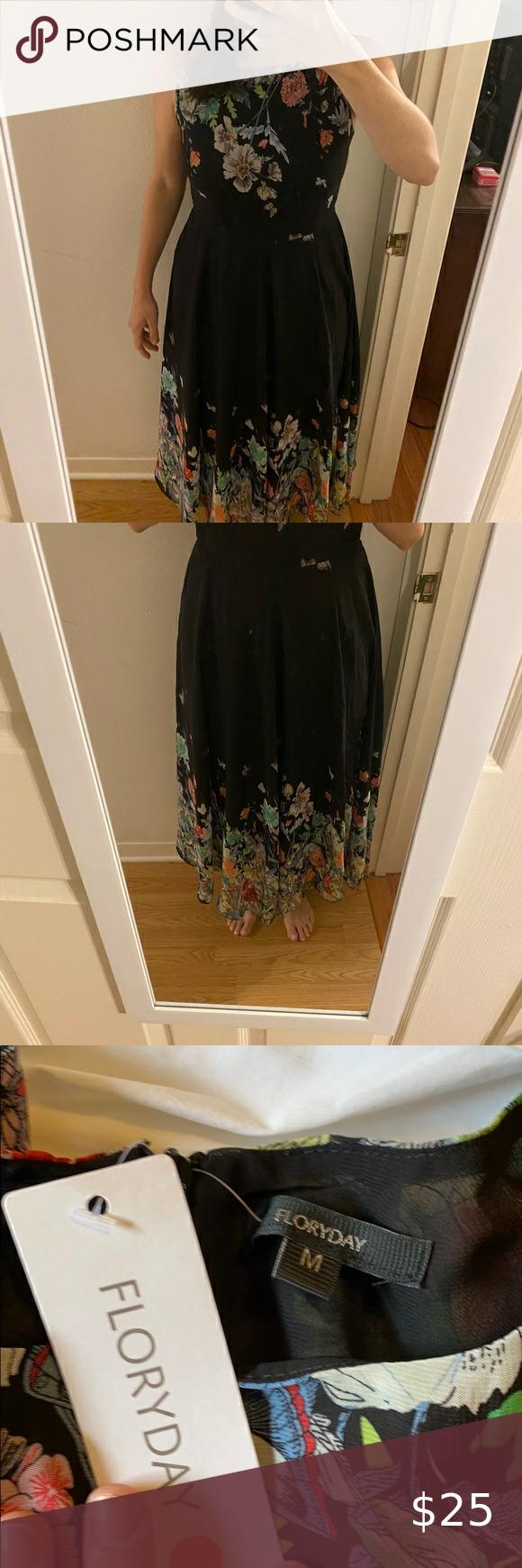 Black Midi Dress With Flowers And Butterflies Black Midi Dress Yellow Lace Dresses Long Sleeve Mini Dress [ 1740 x 580 Pixel ]