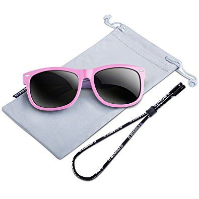 07f8bbb941ad3 RIVBOS Rubber Kids Polarized Sunglasses With Strap Glasses for Boys Girls  Baby and Children Age 3-10 RBK004 (W Pink)
