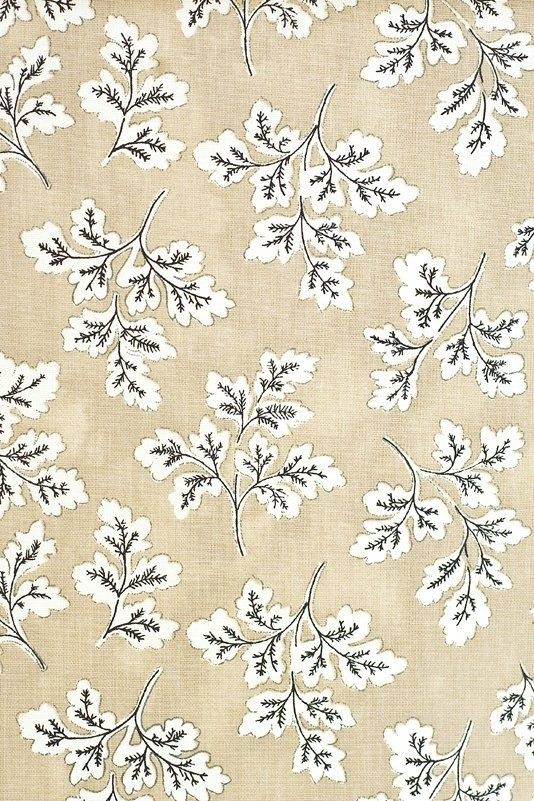 Meadow Leaf Cotton Curtain Fabric Light Brown Mottled Cotton