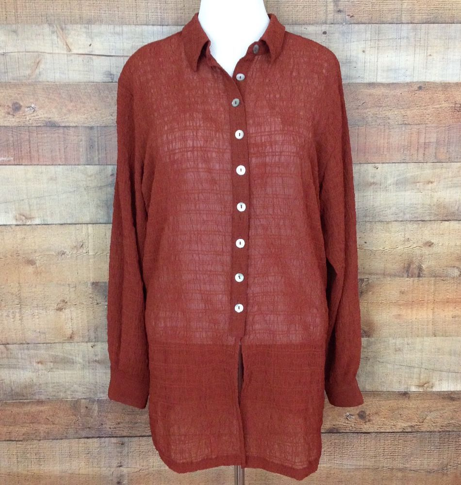 COLDWATER CREEK Women's Rust Semi-Sheer Tunic Top Button Collar Textured Size XL #ColdwaterCreek #Blouse