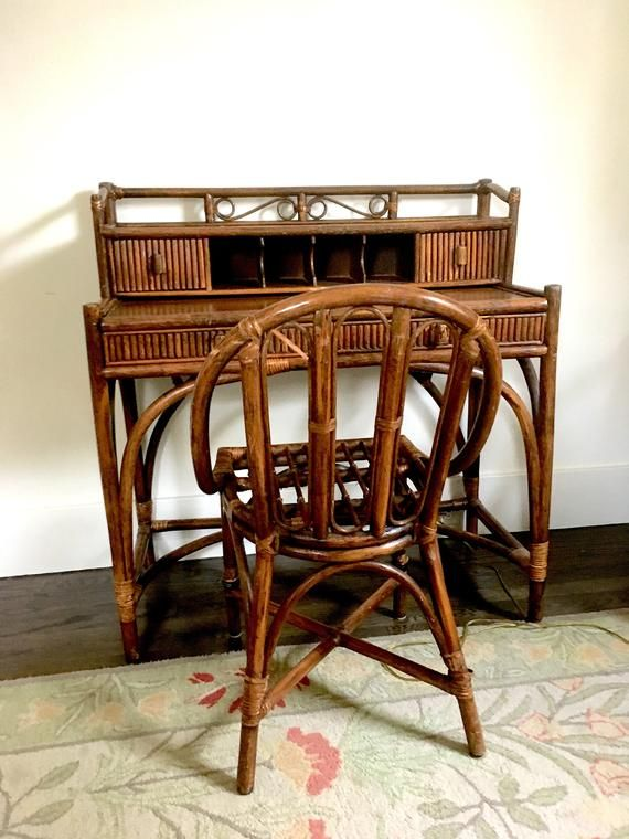 Stupendous Wicker Desk Rattan Desk Gimbels 1960S Etsys Viral Gmtry Best Dining Table And Chair Ideas Images Gmtryco