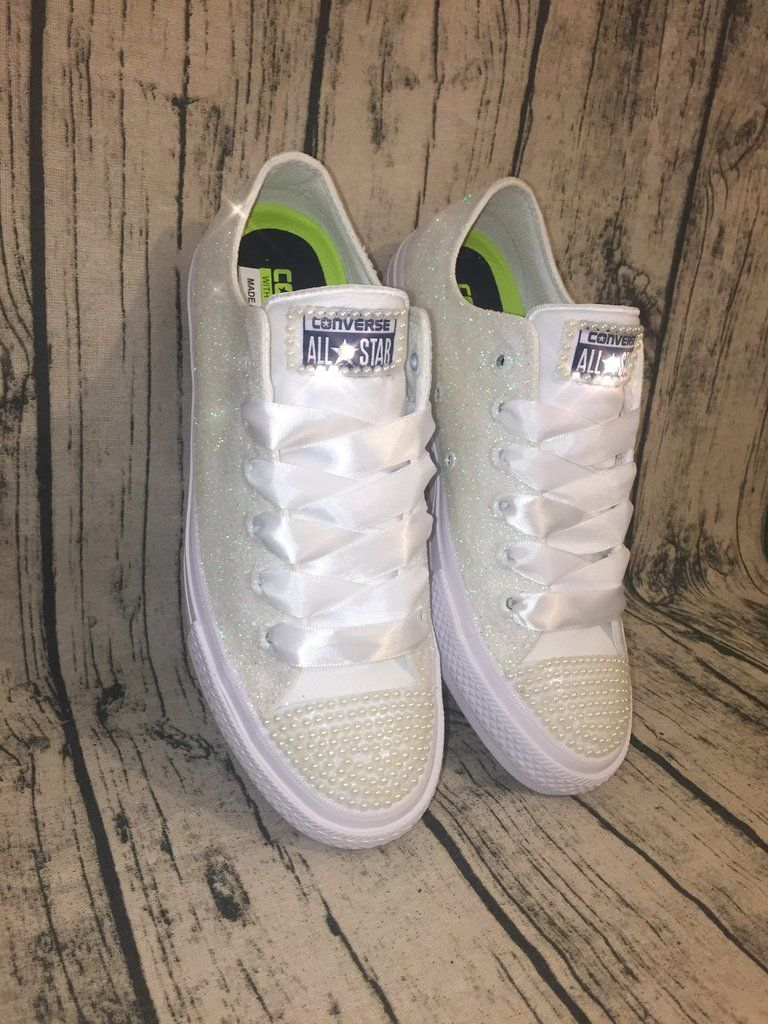 d288e7b1c4d Women s Sparkly White or Ivory Glitter Converse All Stars pearls Bride  Wedding shoes