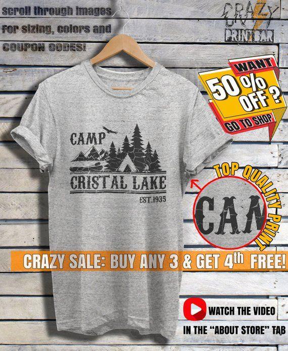 6fa89bade3c5 Camp Crystal Lake Shirt Friday The 13th T-shirt Vintage Horror Movie Shirt  Camp Counselor Shirts Tsh