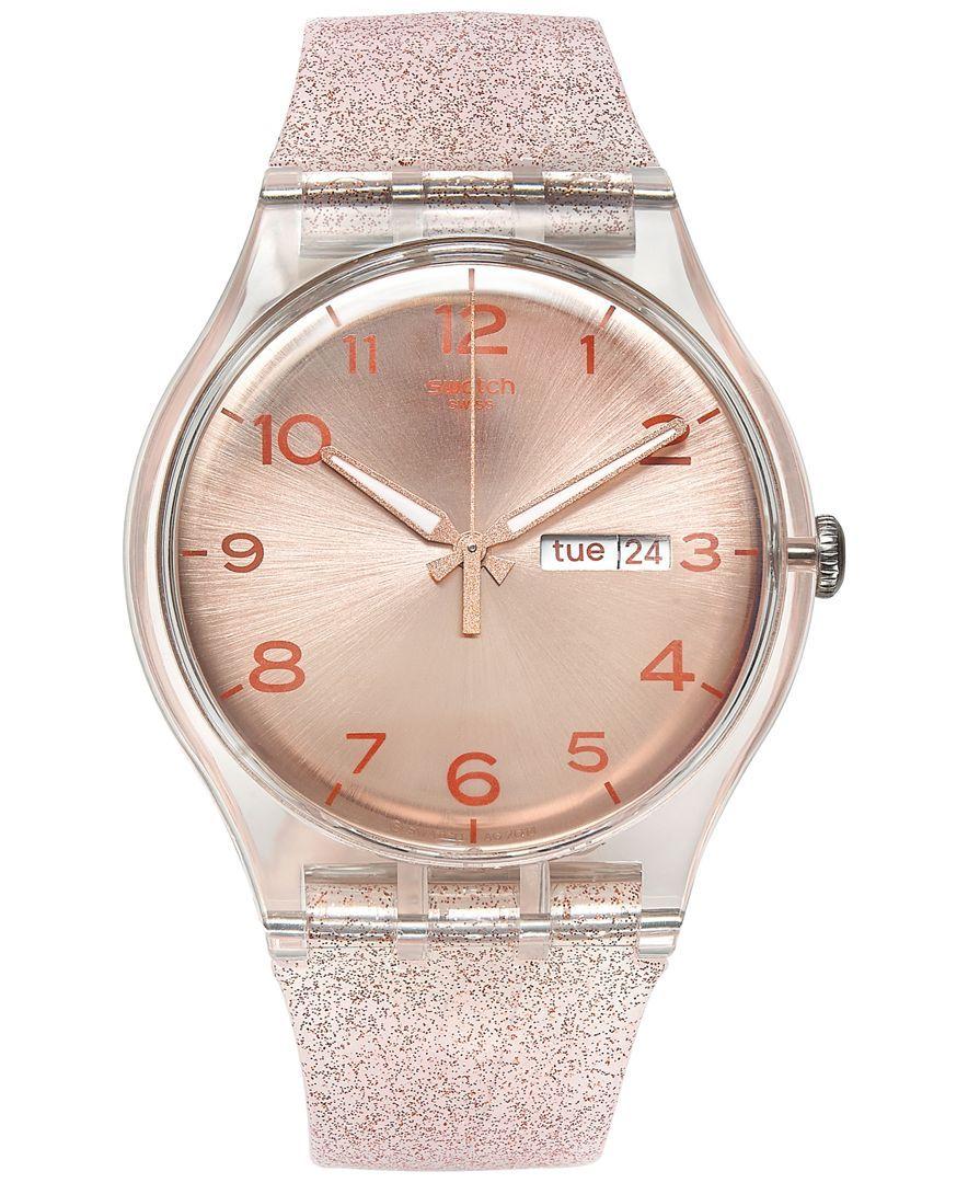 Swatch Women s Swiss Pink Glistar Pink Glitter Semi-Transparent Silicone  Strap Watch 41mm SUOK703 5b96c01ec8b7