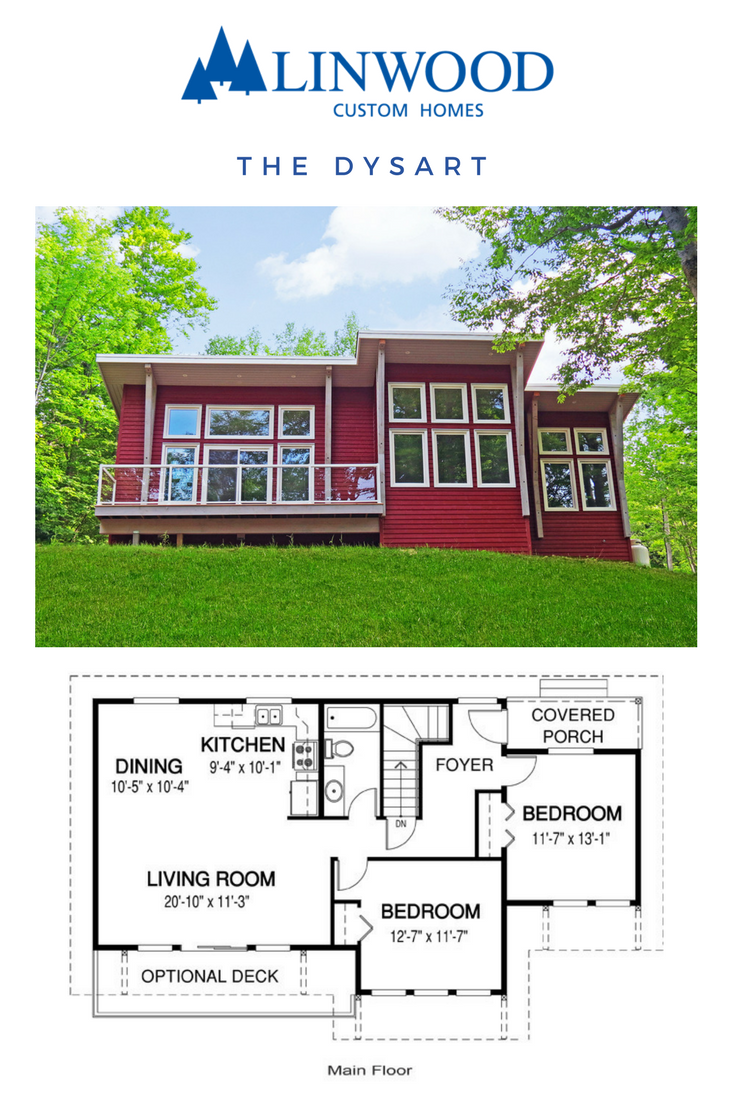 The Sloping Roofline Of The Dysart Home Package From Linwood Homes Offers Opportunity For Large Windows A Starter Home Plans House Plans Container House Design