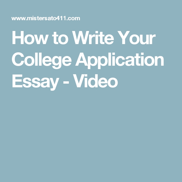 How To Write Your College Application Essay  Video  Personal