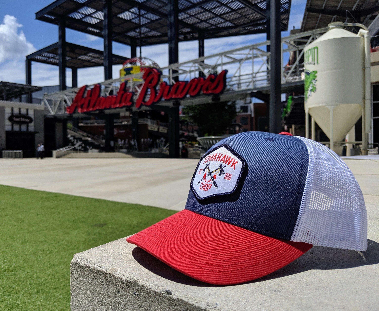 Red White Blue Atlanta Tomahawk Chop Hat Baseball Trucker Etsy In 2020 Tomahawk Chop Braves Hat Baseball Trucker Hat