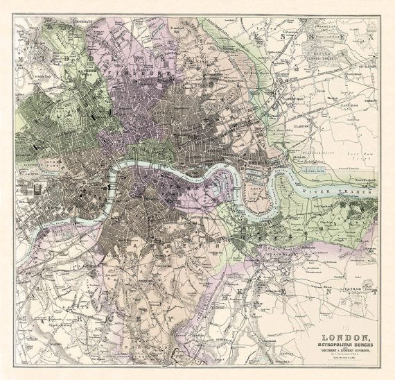 London City Map Printable.London Map Old Map Of London Restored Vintage Map Of London