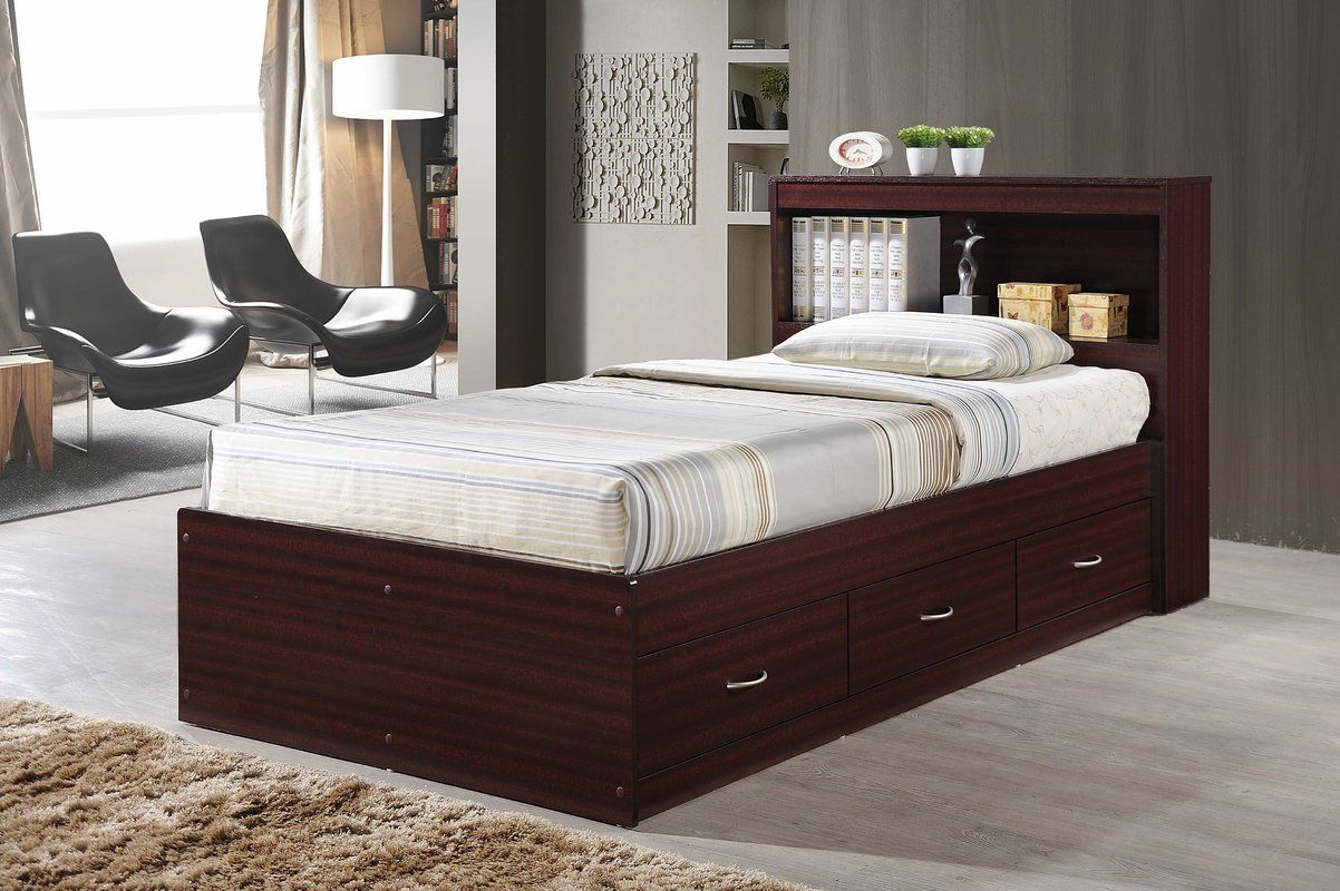 Keira Platform Bed with Drawers and Bookcase (With images