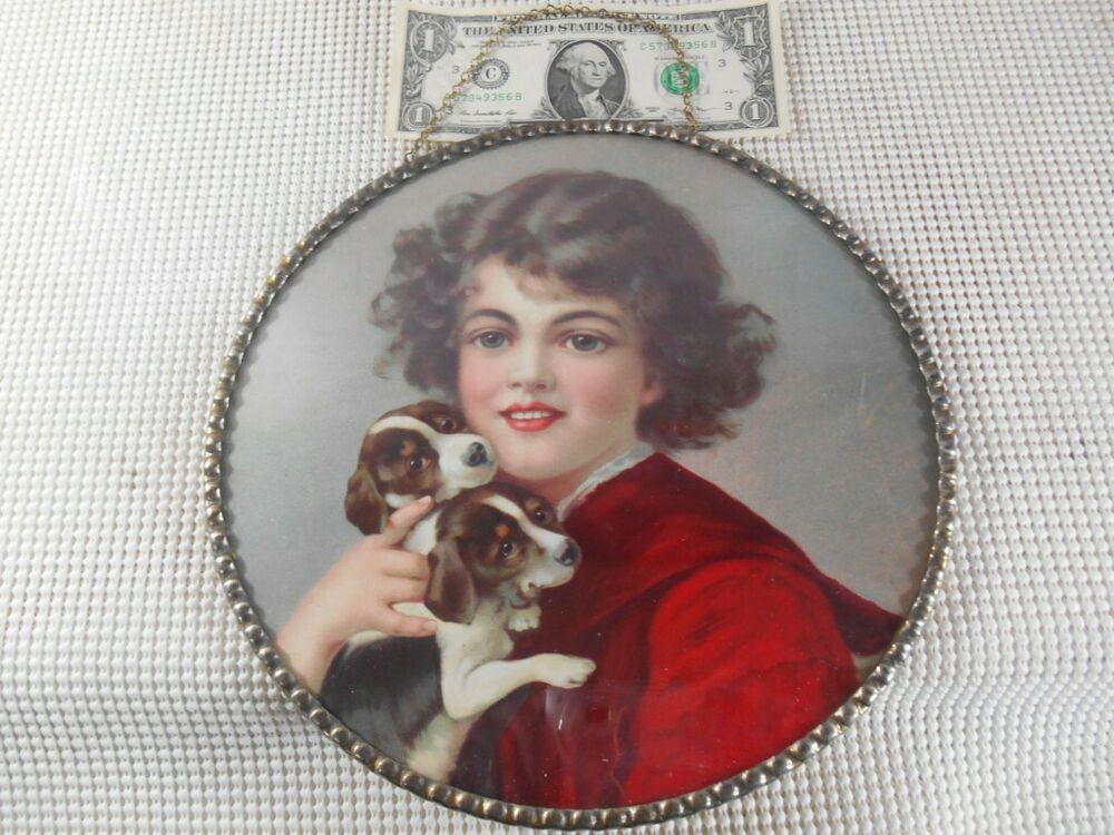 Antique CHIMNEY FLUE COVER Chain Hang Metal Frame GIRL w