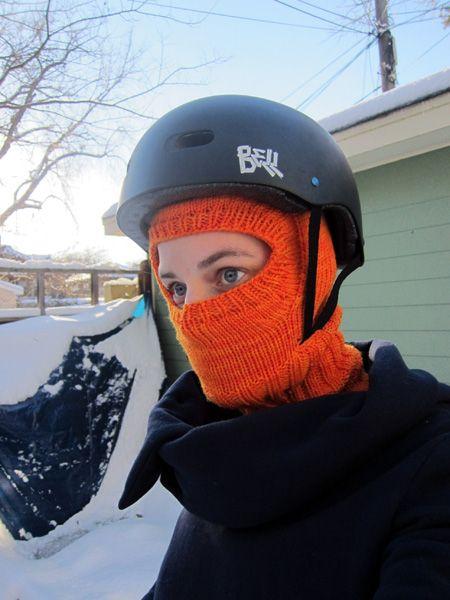 knitted balaclava with bike helmet   Schlupfmützen   Pinterest ...