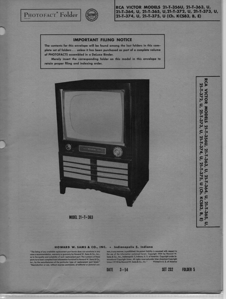 1954 rca victor 21 t 356u television service manual photofact 363 rh pinterest com rca television service manuals Old RCA TV Manuals