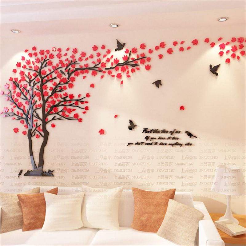 3d4840cdd7 New Arrival Crystal Acrylic DIY 3D Wall stickers Red Tree Modern Living  room TV Sofa Decorative Background Mural Art Love Tree -- Click image for  more ...