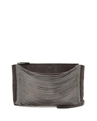 East-West Matte Leather Monili-Draped Crossbody Bag, Dark Gray by Brunello Cucinelli at Bergdorf Goodman.