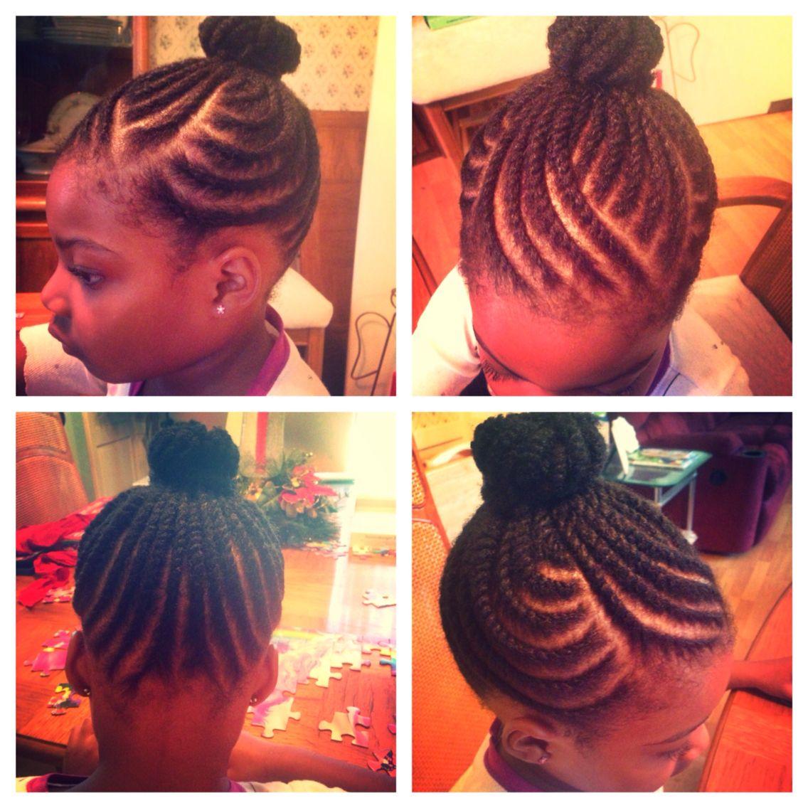 Kid Natural Hair Style Flat Twists High Bun Creative