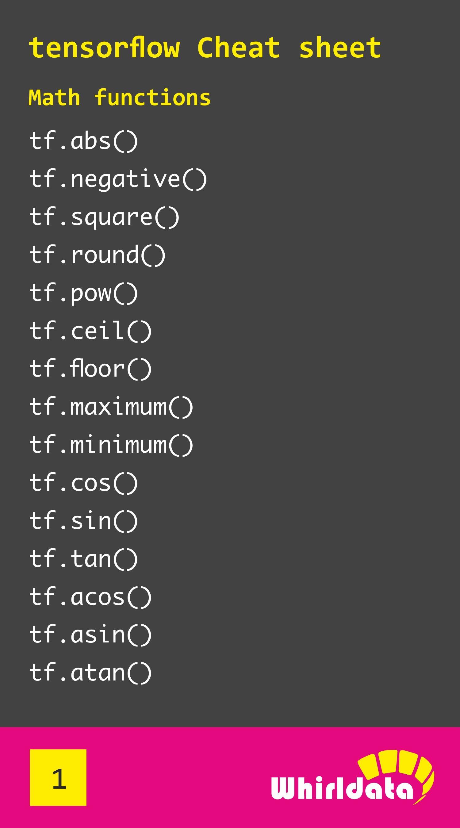 Tensorflow chatSheet - Math functions | My designs in 2019