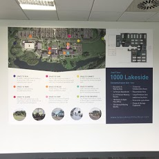 Working For Lakeside North Harbour In This Multi Occupancy Workplace Village We Added Decals And Site Maps To U Being A Landlord Wall Graphics Office Branding