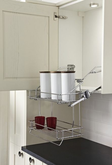 pull down basket shelves two tier chrome wire gas spring operated rh pinterest com