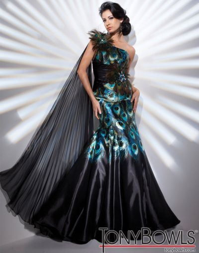 Peacock Feather Prom Dress