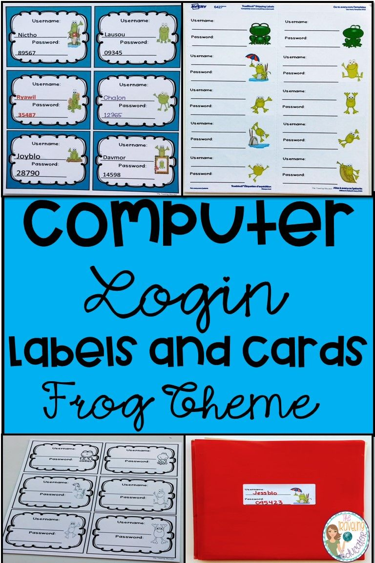 Computer Login Labels And Cards Frog Theme First Grade