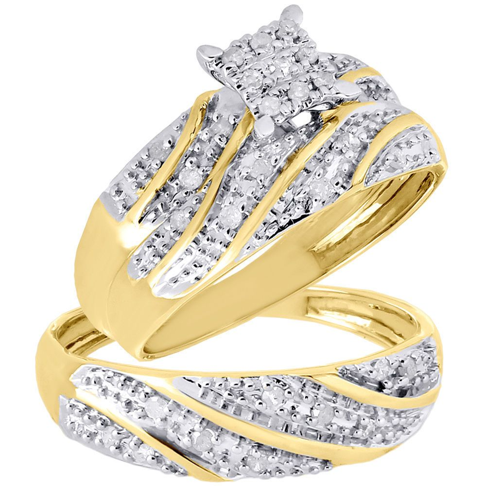 14K Gold Over Engagement Ring Diamond His Her Trio Wedding