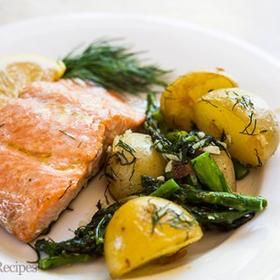 Photo of Oven-Roasted Salmon, Asparagus and New Potatoes Recipe | SimplyRecipes.com