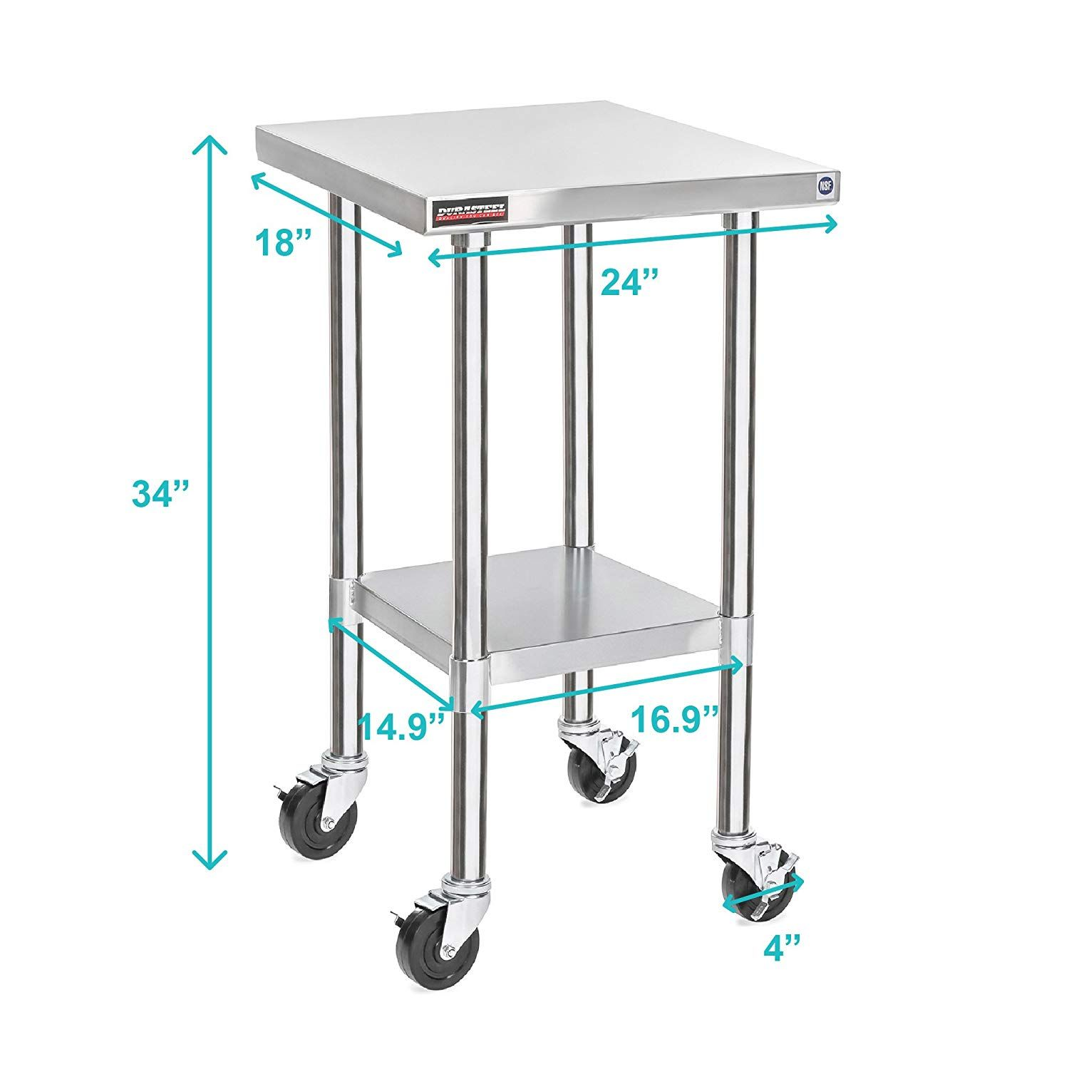 Amazon Com Durasteel Worktable Stainless Steel Food Prep 24 X 12 X 34 Height With 4 Caster Wheels Work Stainless Steel Work Table Work Table Casters Wheels