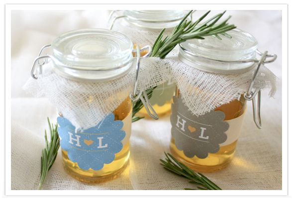 in love with these homemade honey labels and the cheesecloth completes it via @100 Layer Cake