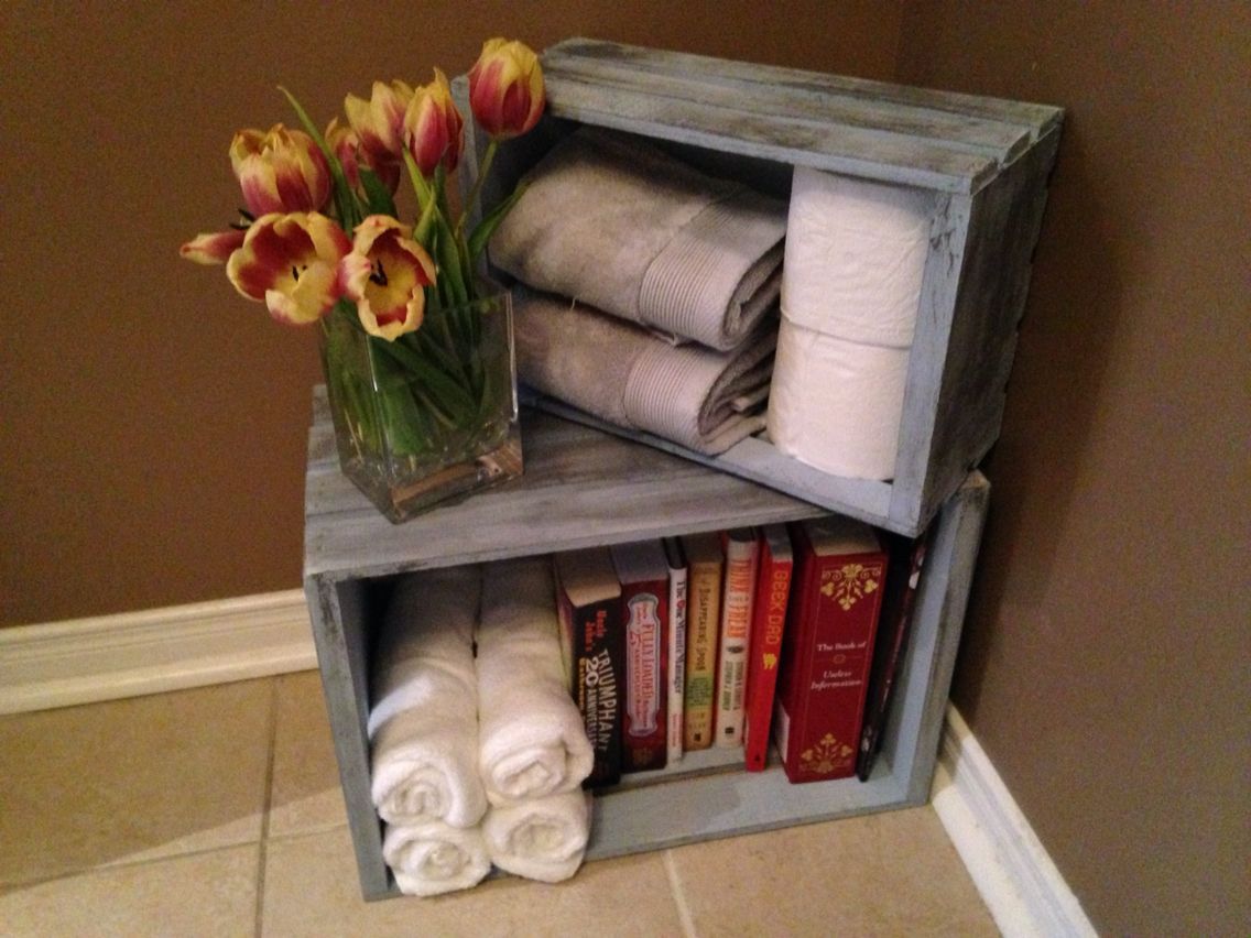 Chalk Painted Wooden Crates For The Bathroom Crate Decor Wooden Crates Projects Diy Rustic Decor