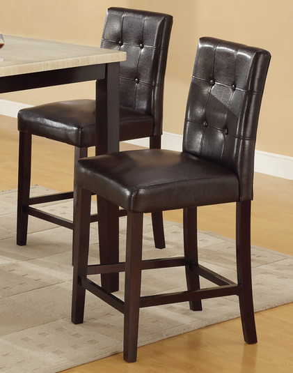 Charmant Bar Stools Counter Height Espresso Faux Leather Set Of 2 Parson Counter  Height Chairs