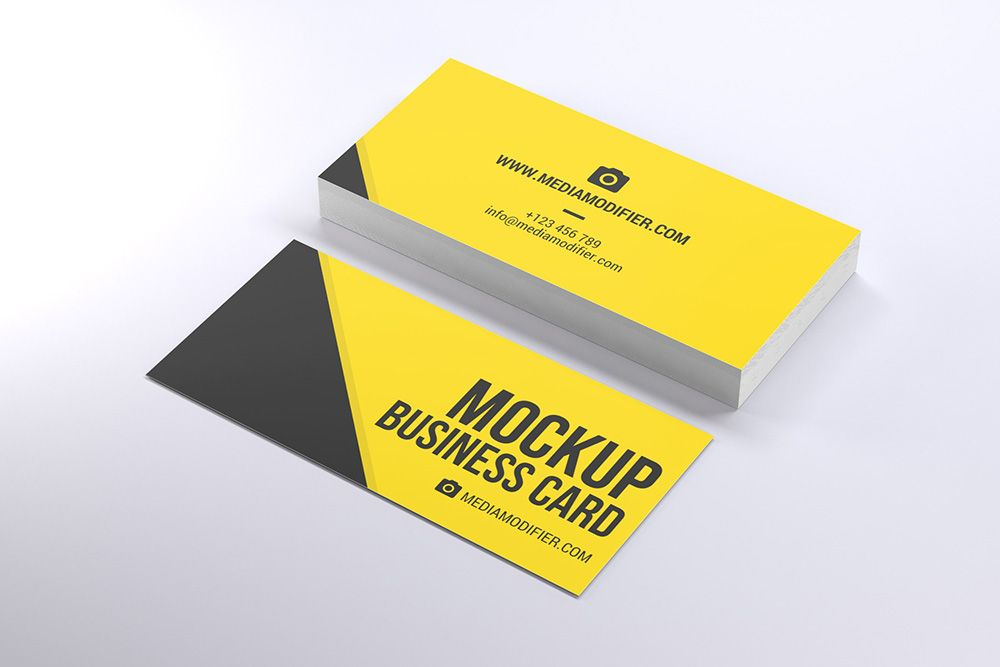 Stack Of Wide Business Greeting Cards Mockup Generator With