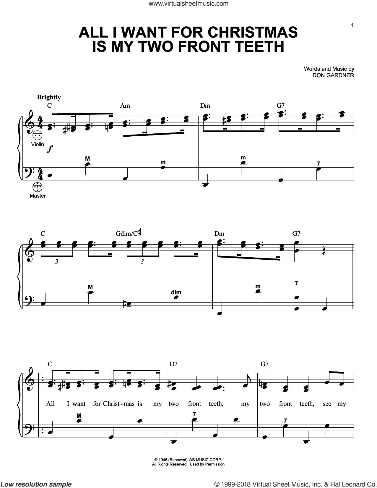 Gardner All I Want For Christmas Is My Two Front Teeth Sheet Music For Accordion Sheet Music Christmas Sheet Music Accordion Sheet Music