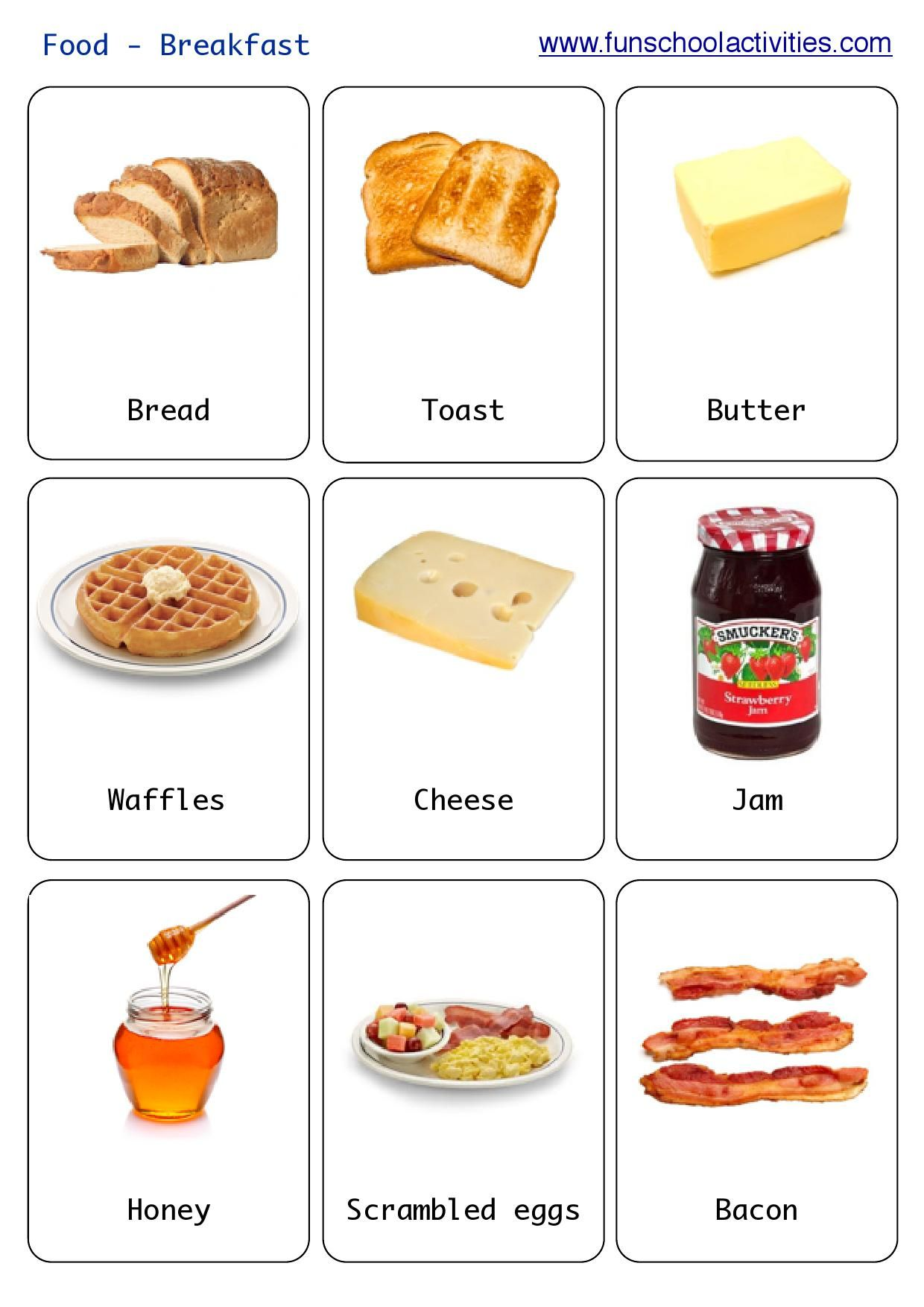 Printable Breakfast Flashcards
