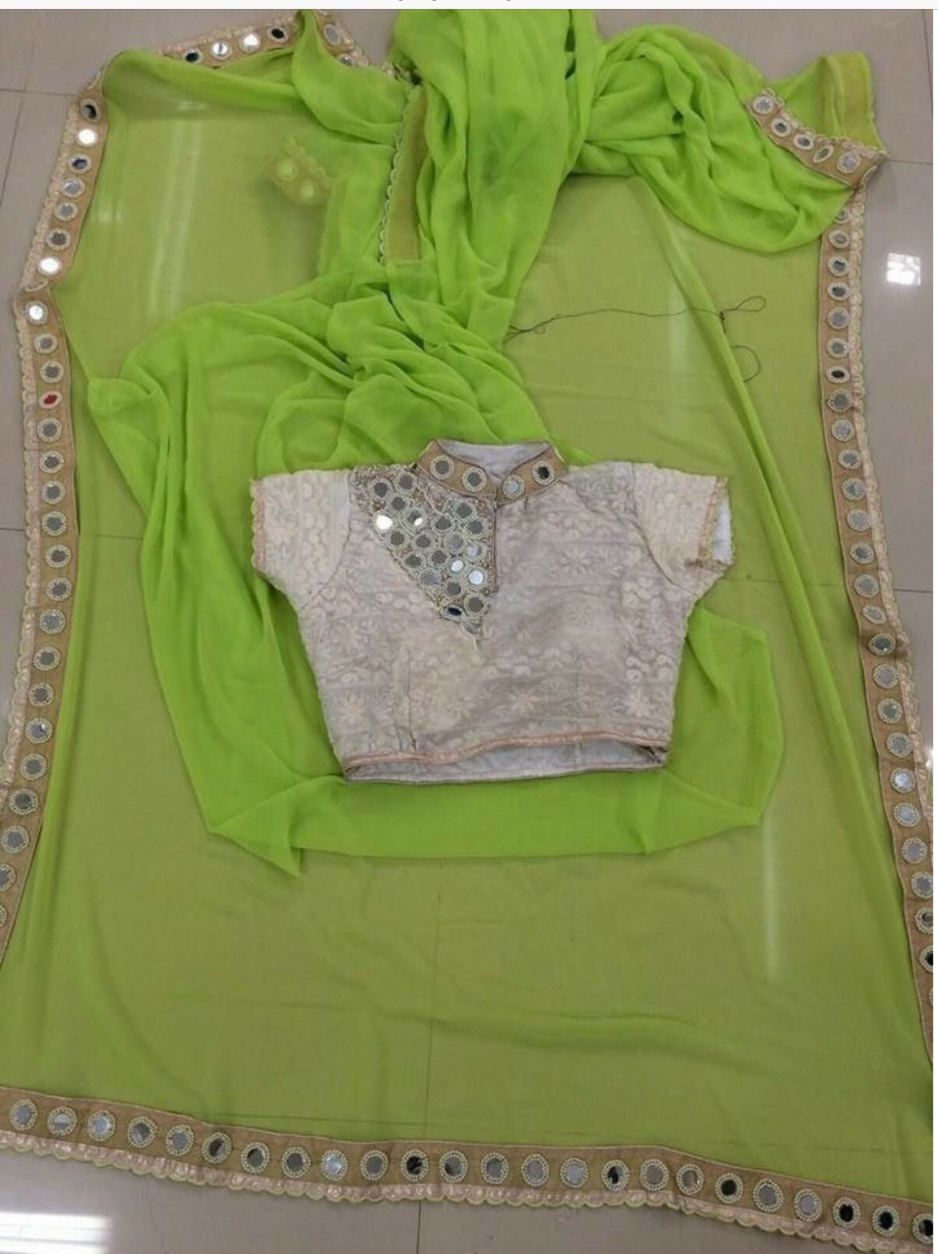 Lite Green Color Designer Georgette Sarees Party Wear Pure With Heavy Blouse