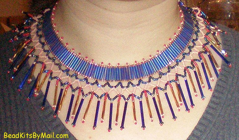 One of the easier kits available at BeadKitsByMail.com.  #beadkits #beadwork Teatime Broad Collar Kit at BeadKitsByMail.com