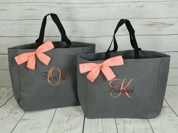 Bridesmaid Tote Bags Makeup Canvas Bridal Party Gifts
