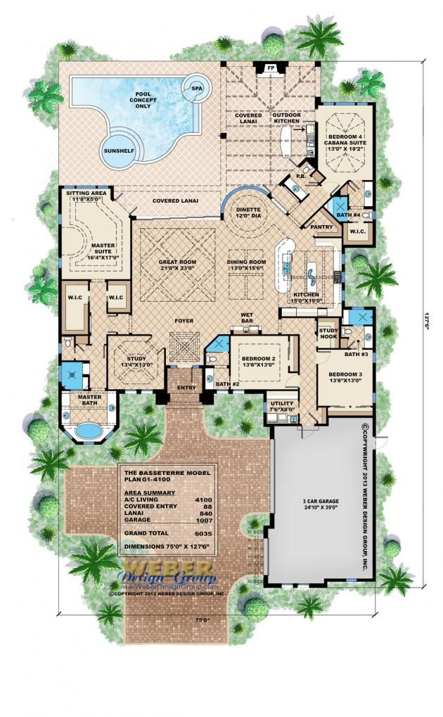 Mediterranean House Plan | Basseterre House Plan   Weber Design Group