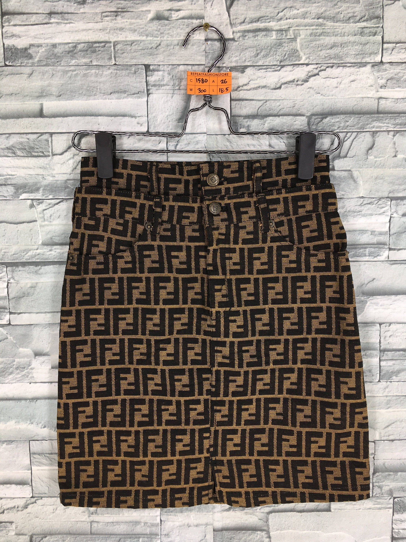 4732e4af FENDI ROMA Jeans Skirt Fendi Monogram Ladies Brown Fendi Zucca Skirt ...