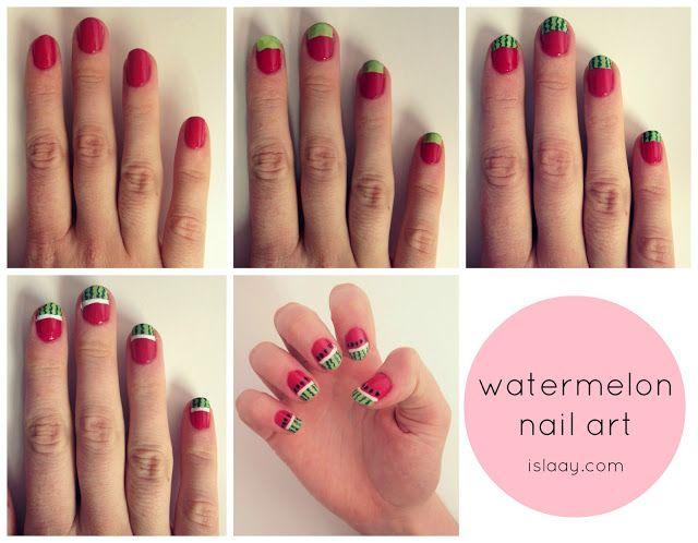 easy watermelon NOTD and nail art tutorial islaay.com | n a i l s ...