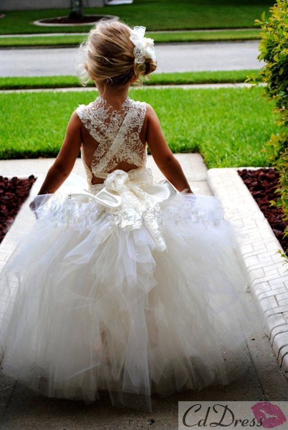 Lovely Ball Gown Hater Floor-length Tulle and Lace Flower Girl Dress ...