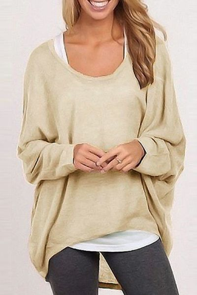 Loose-Fitting Solid Color Scoop Neck Long Sleeves Sweater