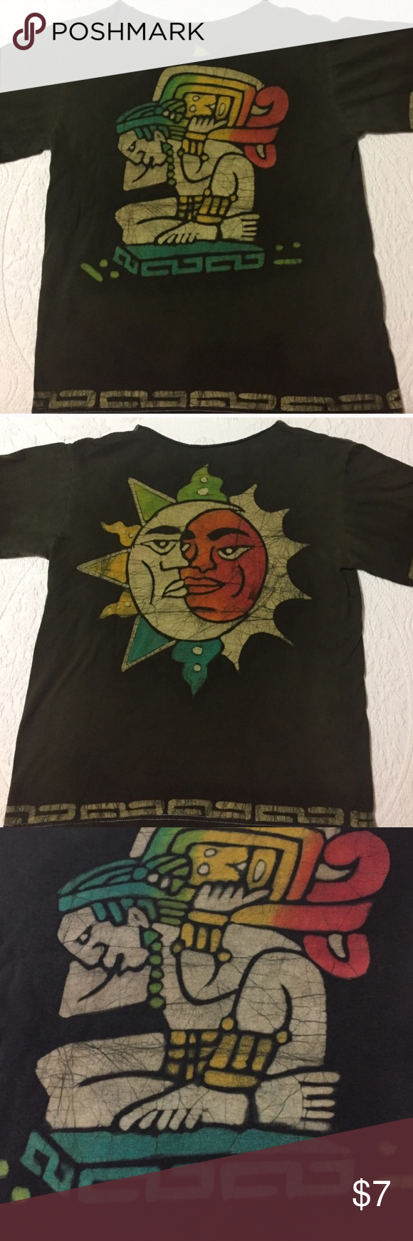 """Destructed Mayan Sun Tshirt Collar has been cut out. No tag size. Looks like a women's small. Measurements: Chest 18"""" length 22.5"""" neck opening 11"""". Sun/moon is on back. Tops Tees - Short Sleeve"""