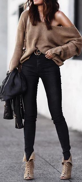 Black and tan winter outfit idea