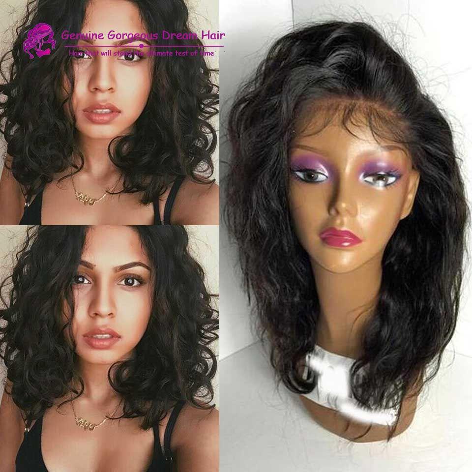 7a 150 density wavy bob wigs short body wave full lace human hair