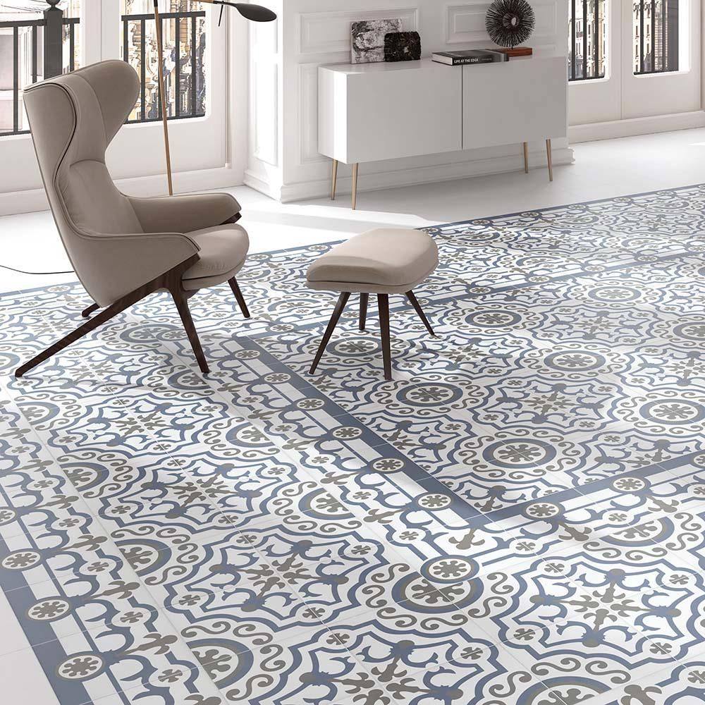Merola tile hidraulico ducados cenefa 9 12 in x 9 12 in merola tile hidraulico ducados cenefa 9 12 in x 9 12 in porcelain floor and wall tile 1076 sq ft case bluegrey and whitelow sheen dailygadgetfo Images