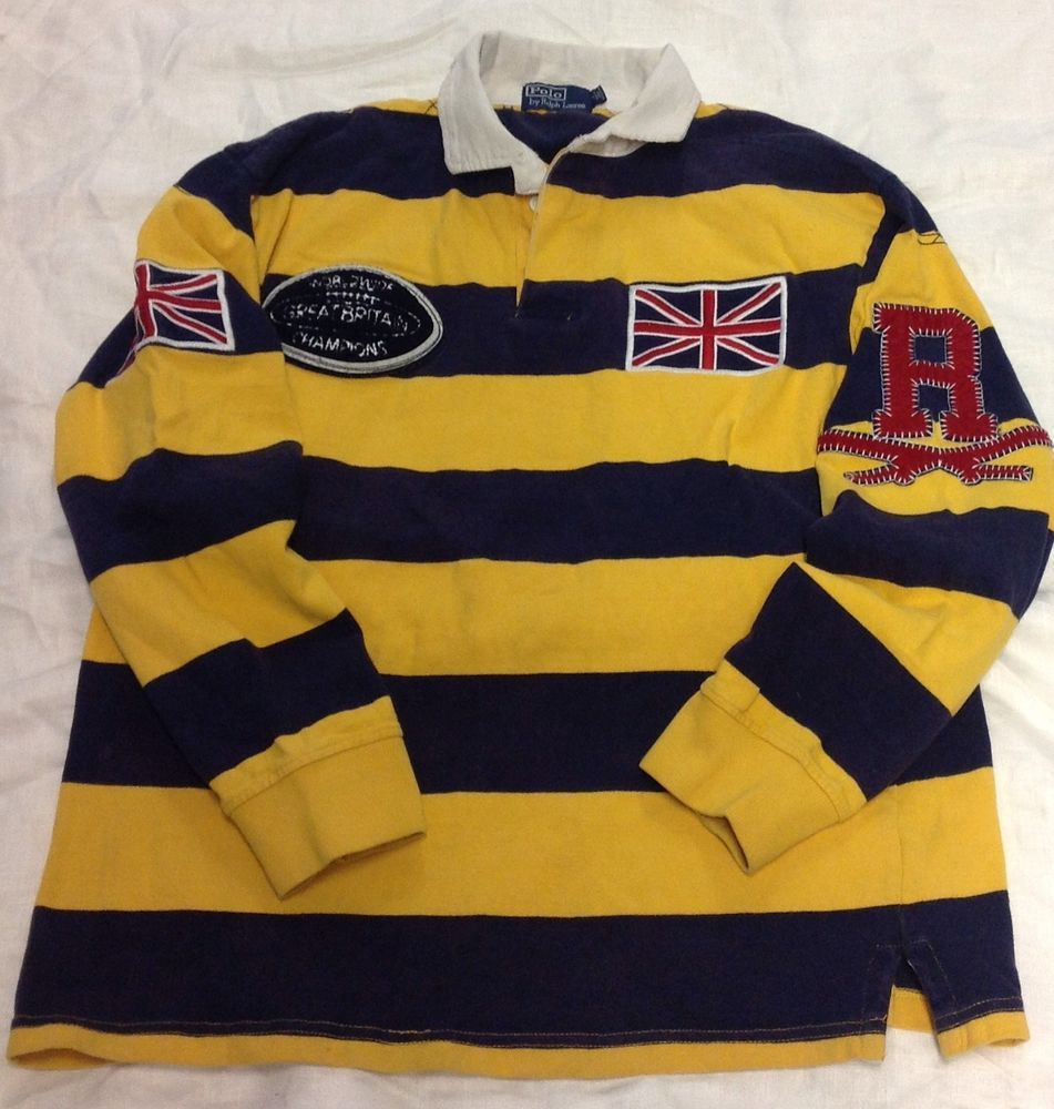 0dfde6a4bdf Polo Ralph Lauren Vintage Rugby Shirt size large mens British flag patch