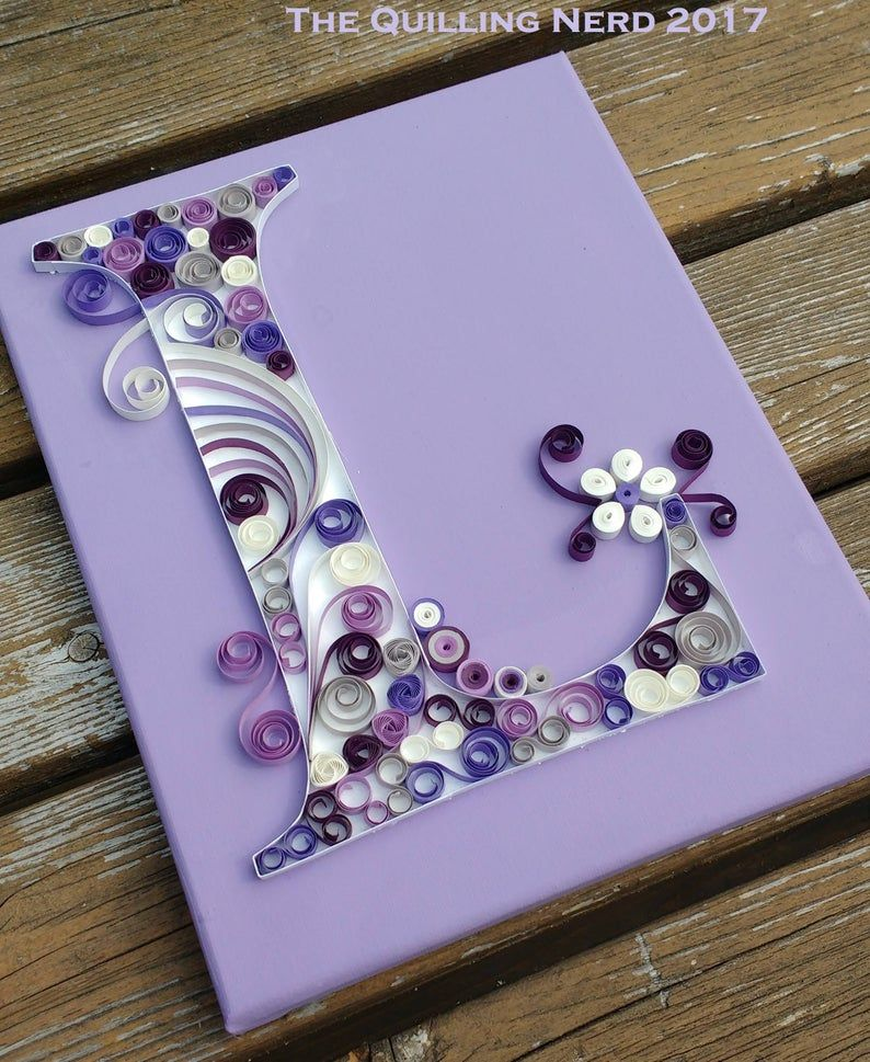 Custom Quilled Monograms Typography 8x10 Shadow Box FRAMED