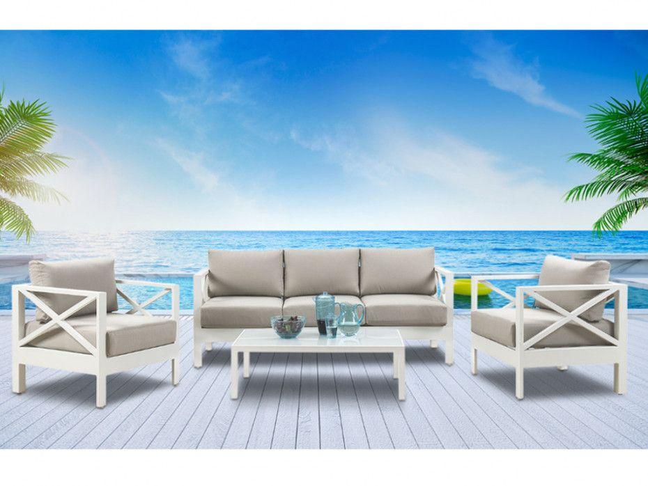 Salon de jardin SERAM en aluminium blanc et coussins taupe ...